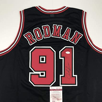 a5dd9c1848c Autographed/Signed Dennis Rodman Chicago Black Basketball Jersey JSA COA at  Amazon's Sports Collectibles Store