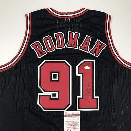 best service 525ed 9dbec Autographed/Signed Dennis Rodman Chicago Black Basketball ...