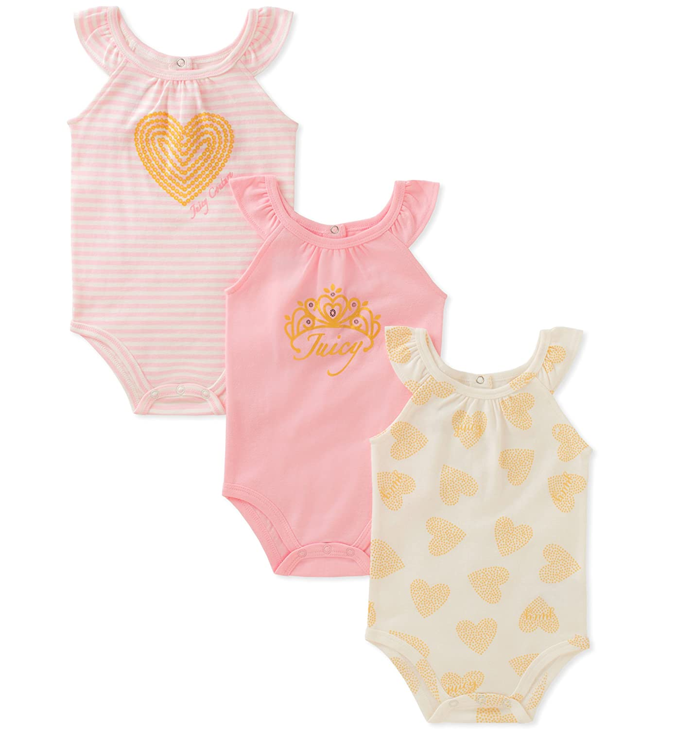 ae804cf31 Amazon.com  Juicy Couture Baby Girls 3 Packs Bodysuit  Clothing