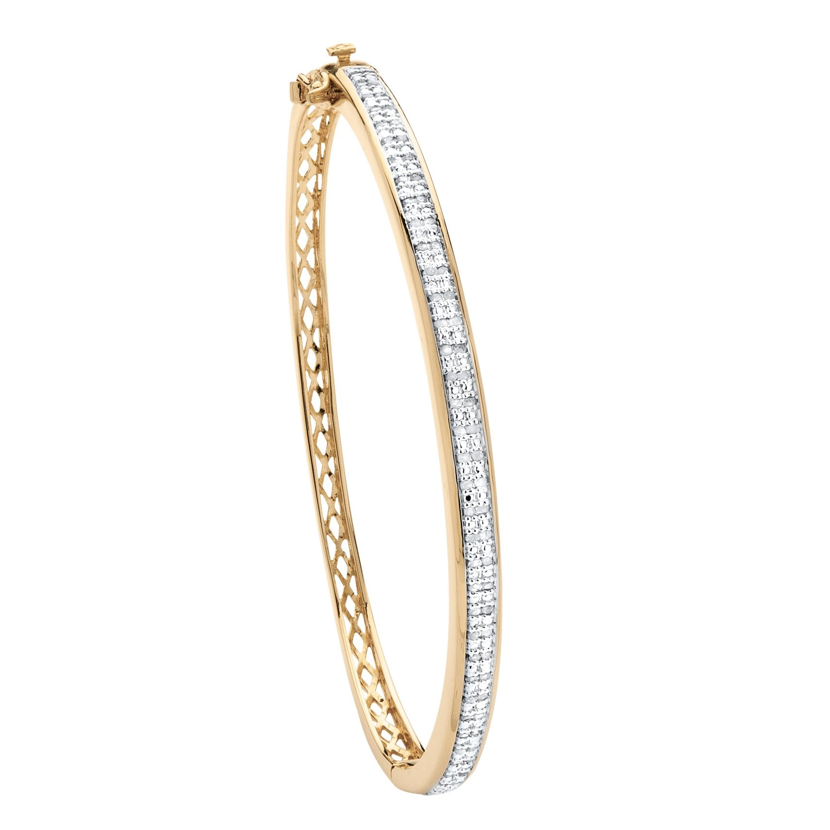 Palm Beach Jewelry 18K Yellow Gold-Plated Bangle Bracelet (5mm), 3/8 cttw Round Diamond, 7'' (IJ Color, I3 Clarity)