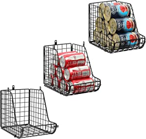 X-cosrack Standing Stackable Can Dispenser Storage Organizer Bins-3 Pack, Metal Wire Basket Beverage Pop Soda Can Rack Stand Kitchen Pantry Countertop Cabinets, Stacking Vertical Canned Food Holder