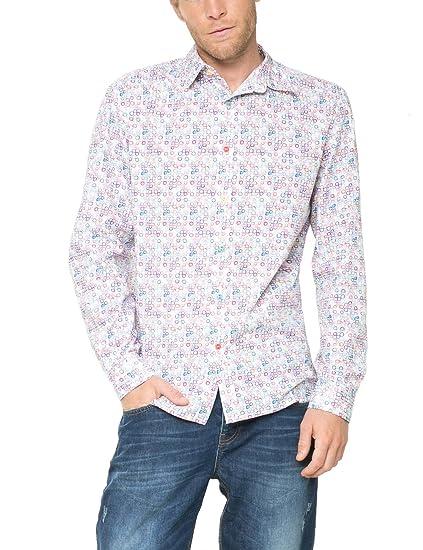 Desigual CAM_MANOLOION Camisa, Blanco, S para Hombre: Amazon.es ...