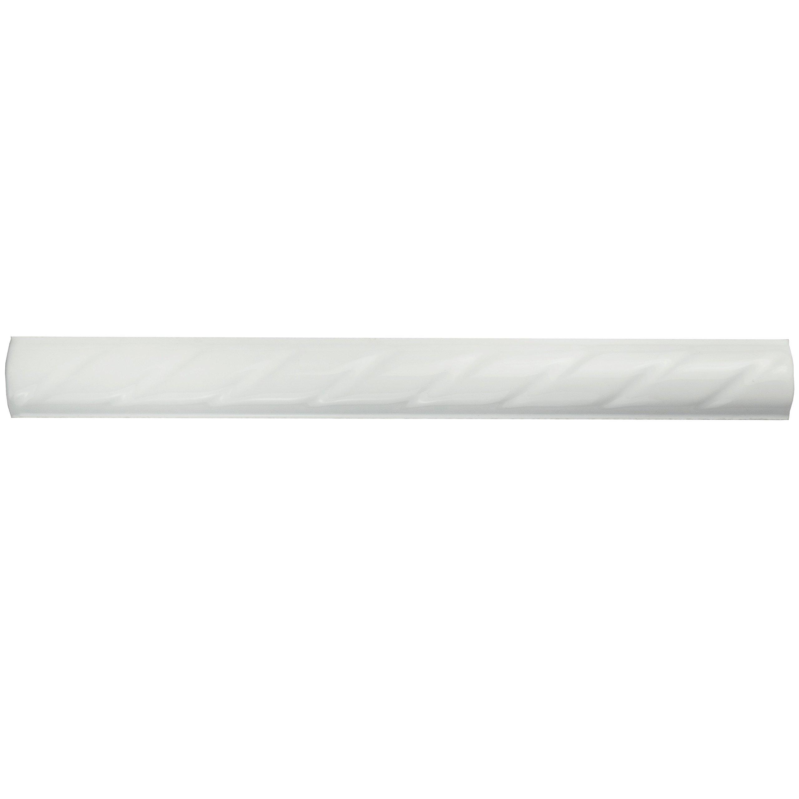 SomerTile WSP10WRP Cuerde Ceramic Pencil Wall Trim Tile, 1'' x 9.75'', White