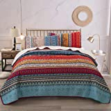 Bohemian Quilt Set King, Boho Striped Pattern Printed Bedding Quilt Coverlet Set, Lightweight Microfiber Bedspread Set for Al