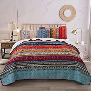 WONGS BEDDING Bohemian Quilt Set Queen, Boho Striped Pattern Printed Quilt Coverlet for All Season, Soft Microfiber Boho Bedspread 90x90 inches(3 Pieces, Colorful)