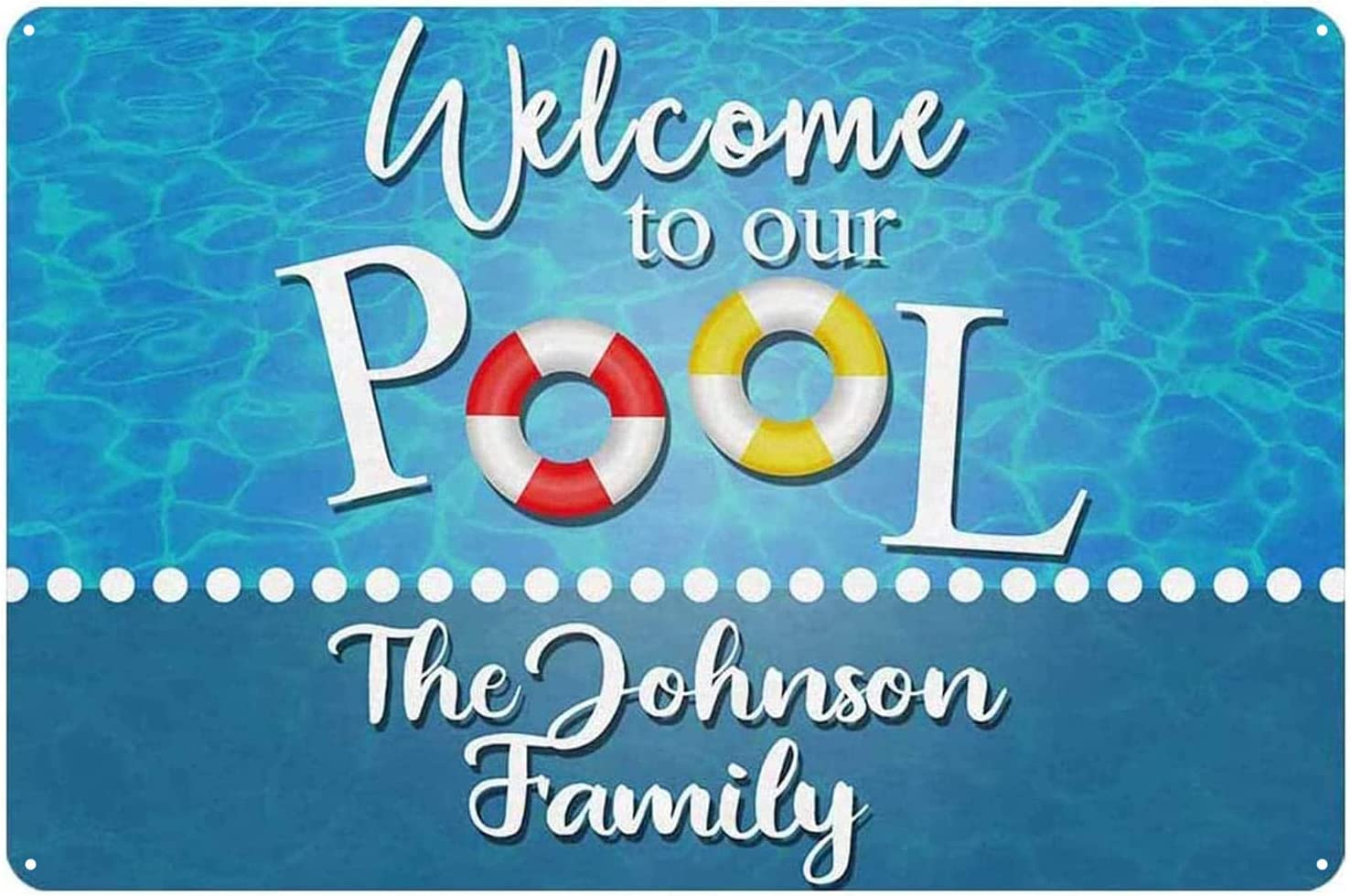 ICRAEZY Custom Pool Sign Personalized Welcome to Our Pool Signs Easy Mounting Indoor/Outdoor Use Family Name Home Wall Decor