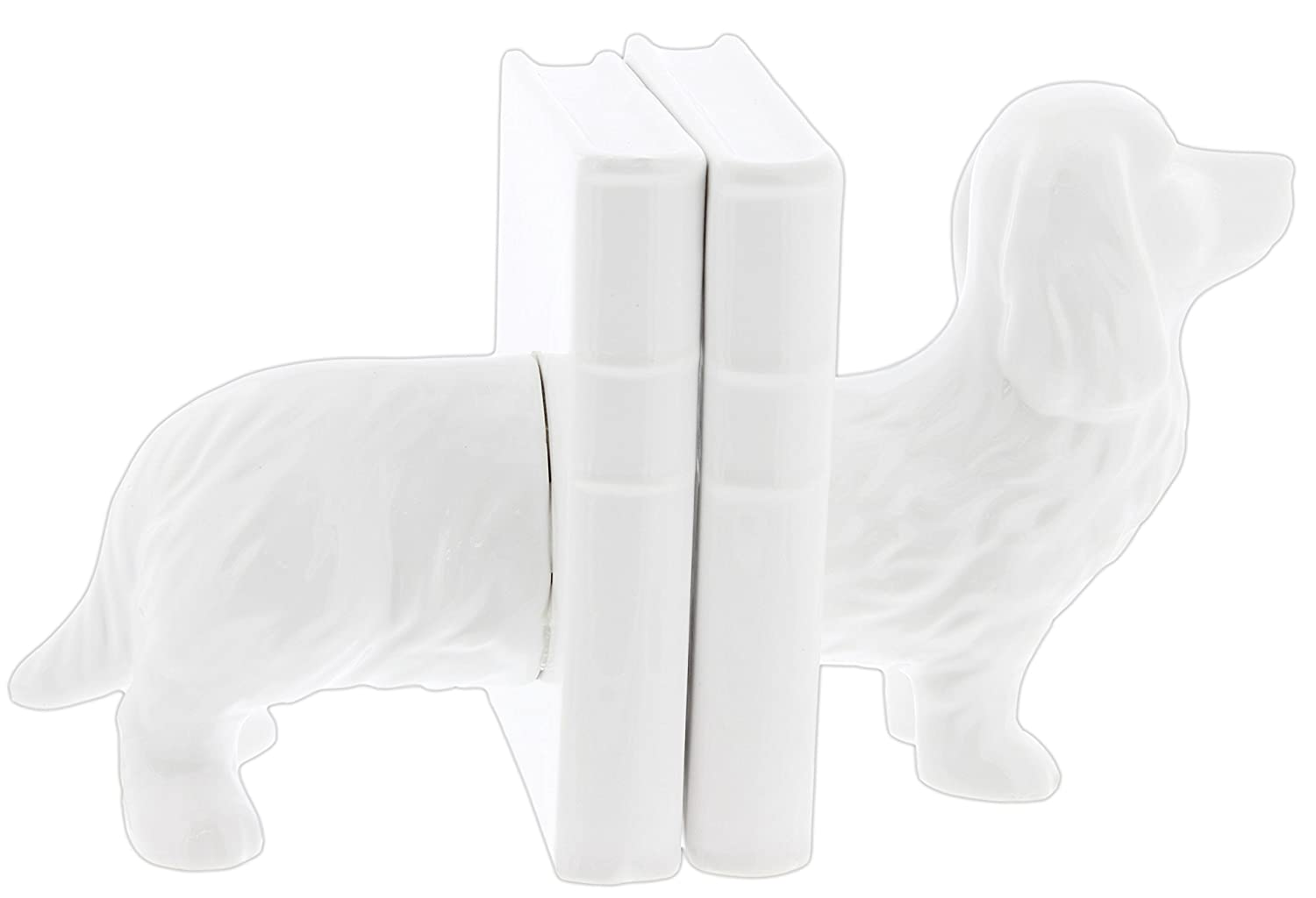 Drew DeRose White Ceramic Dachshund Bookends B078TPBF73
