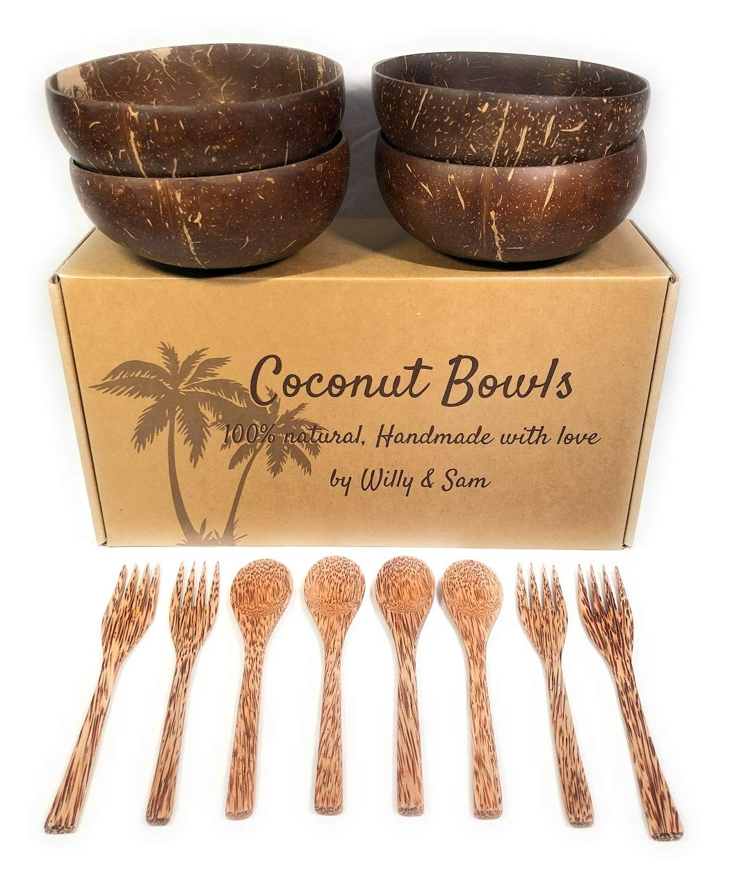 Coconut Bowl, spoon and fork 100% natural, Includes 4 Coconut Bowls + 4 Spoons + 4 Forks | Handmade with love | Ideal for making organic Breakfast, Smoothie, Salad or Buddha Bowl. Perfect Gift