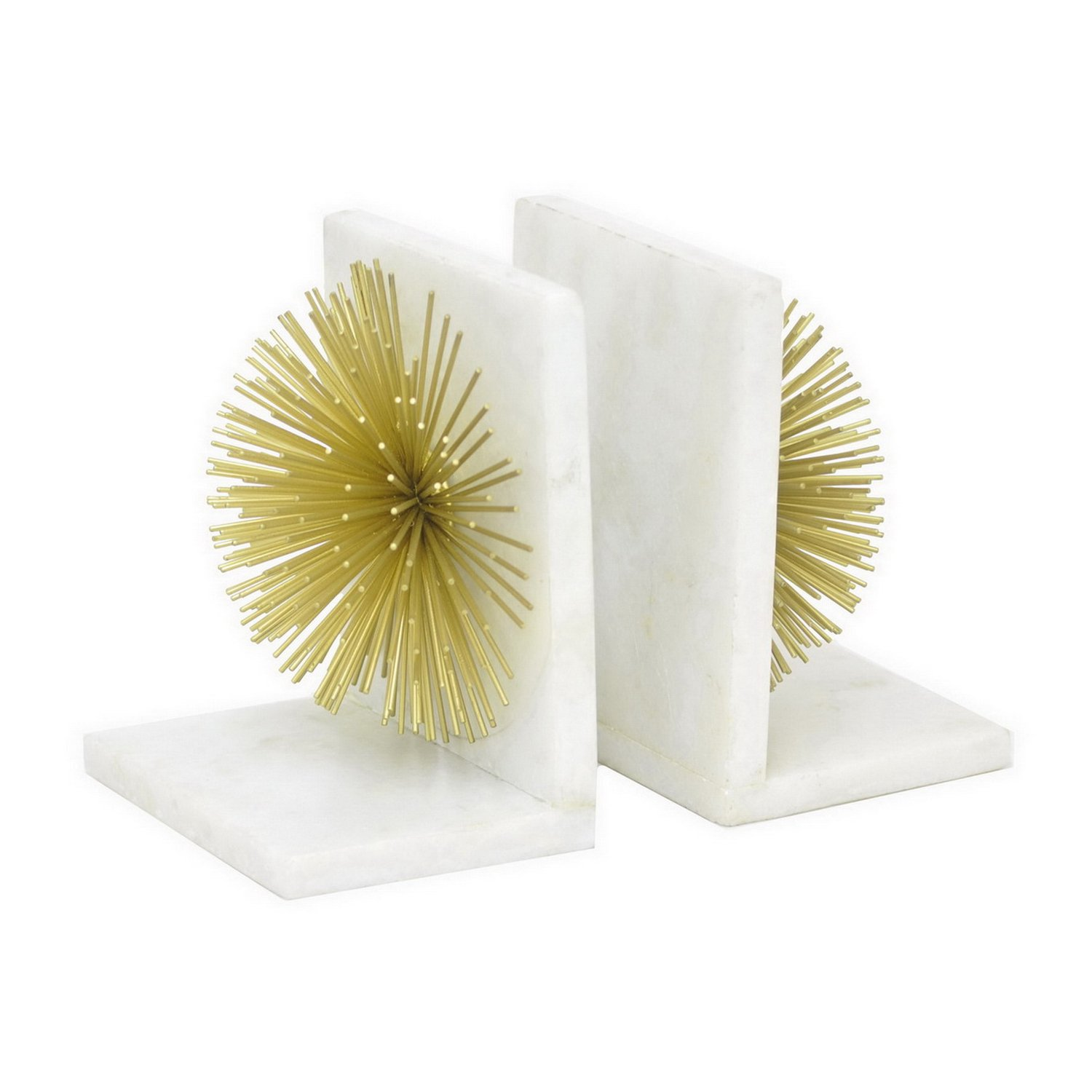 Three Hands Metal/Marble Bookends Set of 2, White by Three Hands