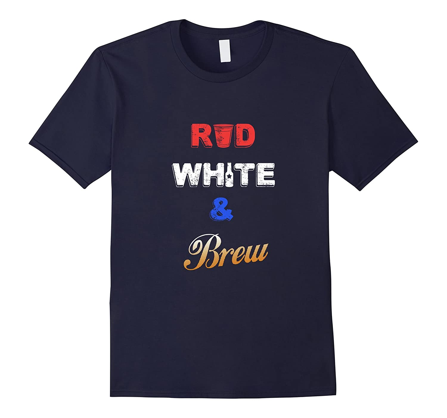 Red, White and Brew Funny July Fourth T-Shirt-BN