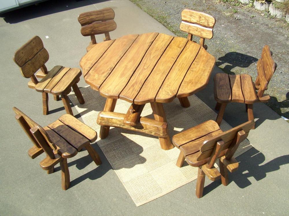 ... Für 6 Personen, Tisch, 6 Stühle, Rustikal Sitzgruppe Gartengarnitur  Terrassenmöbel Holzmöbel Gartenholzmöbel Essgarnitur Garten Bank Tisch  Stuhl Set ...