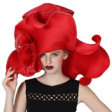 e4c4e0cd June's Young Women's Hats Church Hat Dressy Formal Hats Large Brim Red Color  at Amazon Women's Clothing store: