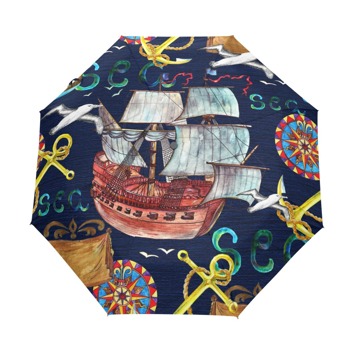 MyDaily Ships Anchor Compass Gull Travel Auto Open/Close Umbrella with Anti-UV Windproof Lightweight Stick Umbrellas