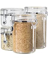 Oggi 4-Piece Acrylic Canister Set with Airtight Lids and Acrylic Spoons-Set Includes 1 each 28oz, 38oz, 59oz, 72oz