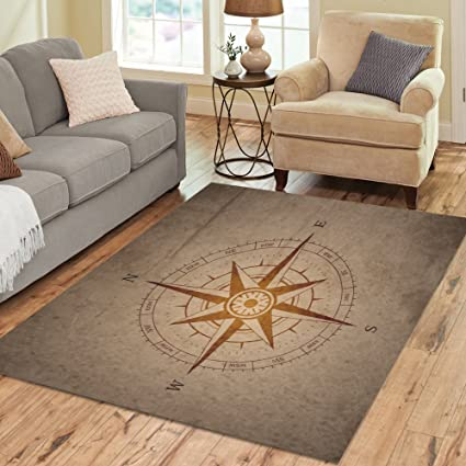 InterestPrint Retro Navigation Compass Area Rug Cover 7 X 5 Feet, Vintage  Map Modern Carpet