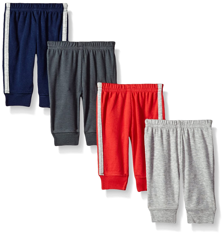 Simple Joys by Carter's Boys' 4-Pack Pant, Grey/Blue/Red Side Stripe, Preemie