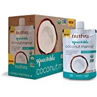 Nutiva Organic Coconut Manna, Coconut, Squeezable 6.2-ounce Pouch (Pack of 6)