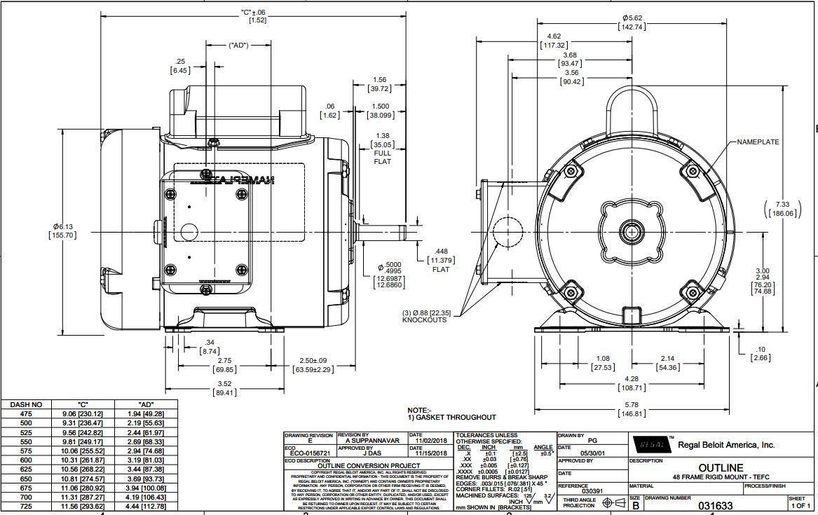 1//2 hp 1725 RPM 48 Frame TEFC 115//208-230V Leeson Electric Motor # 100956