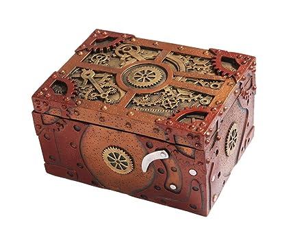 amazon com steampunk themed clockwork jewelry trinket box figurine