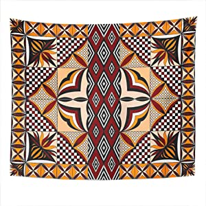 Suklly Tapestry Wall Hanging Samoan Siapo Quilt Symmetrical Home Decor Polyester Living Bedroom Dorm 60 X 80 Inches Picnic Mat Beach Towel Bed Cover