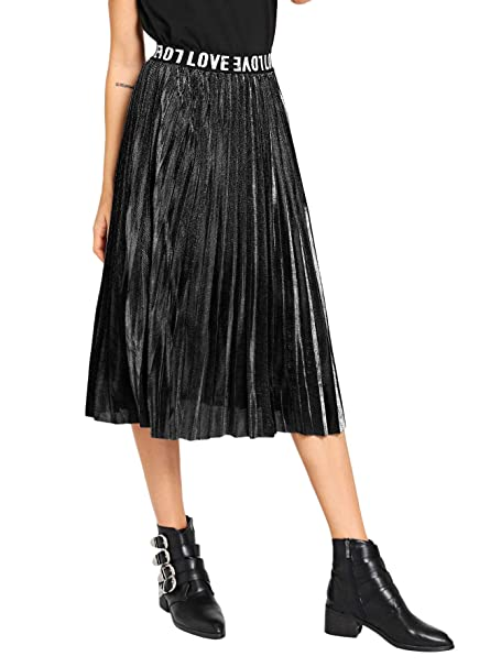 47ef1172e8 SheIn Women's Casual Metallic A-Line Pleated Midi Skirt at Amazon ...