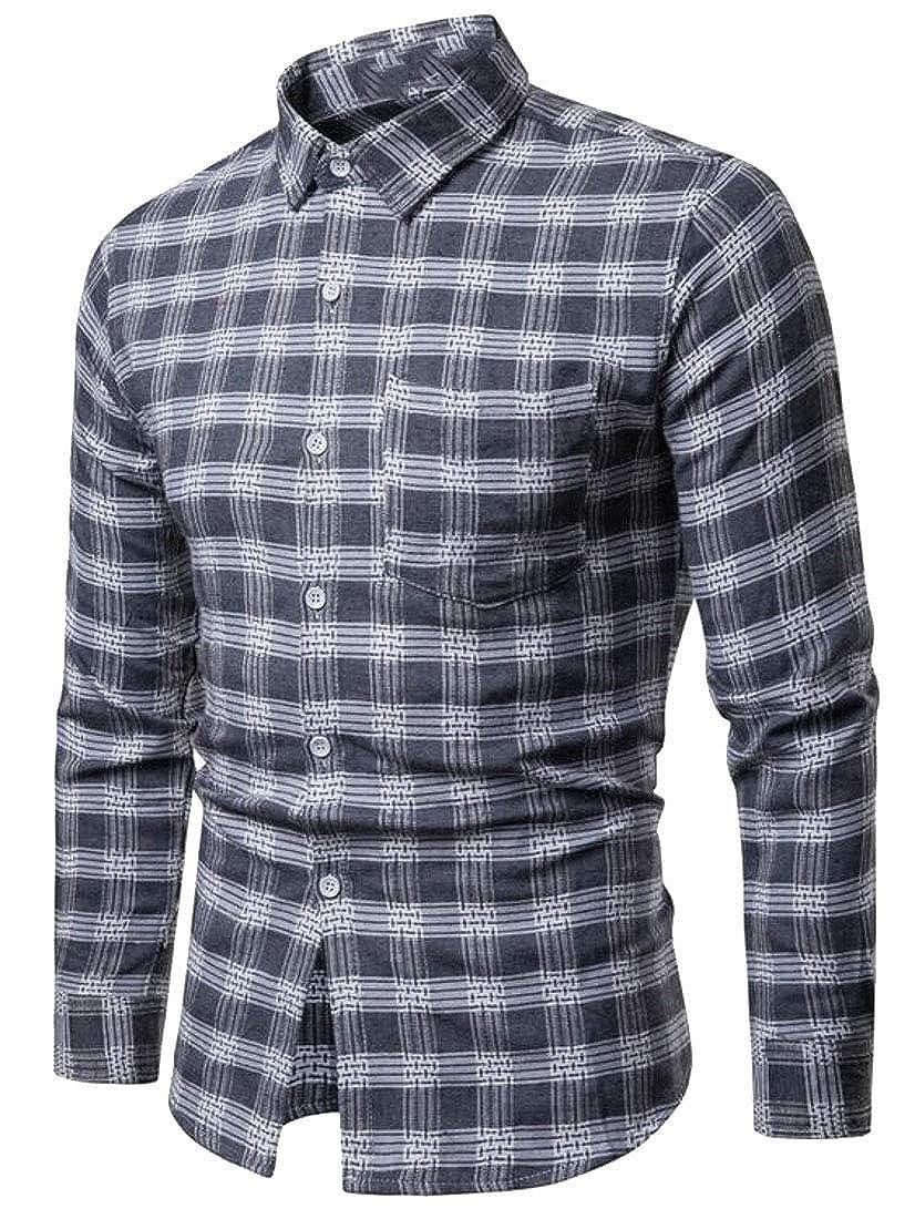 Sweatwater Men Plaid Fashion Business Slim Fit Long-Sleeve Shirts