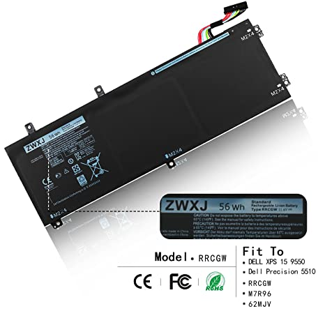 Amazon Zwxj Laptop Battery Rrcgw114v 56wh For Dell Xps 15