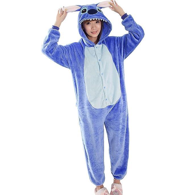 più recente 52cd9 cd694 Minetom Blu Stitch Kigurumi Pigiama Unisex Adulto Cosplay Halloween Costume  Animale Pigiama