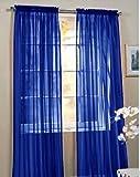 "2 Piece Beautiful Sheer Window Royal Blue Elegance Curtains/drape/panels/treatment 60""w X 84""l"