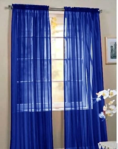 Awesome 2 Piece Beautiful Sheer Window Royal Blue Elegance Curtains/drape/panels/treatment  60u0026quot