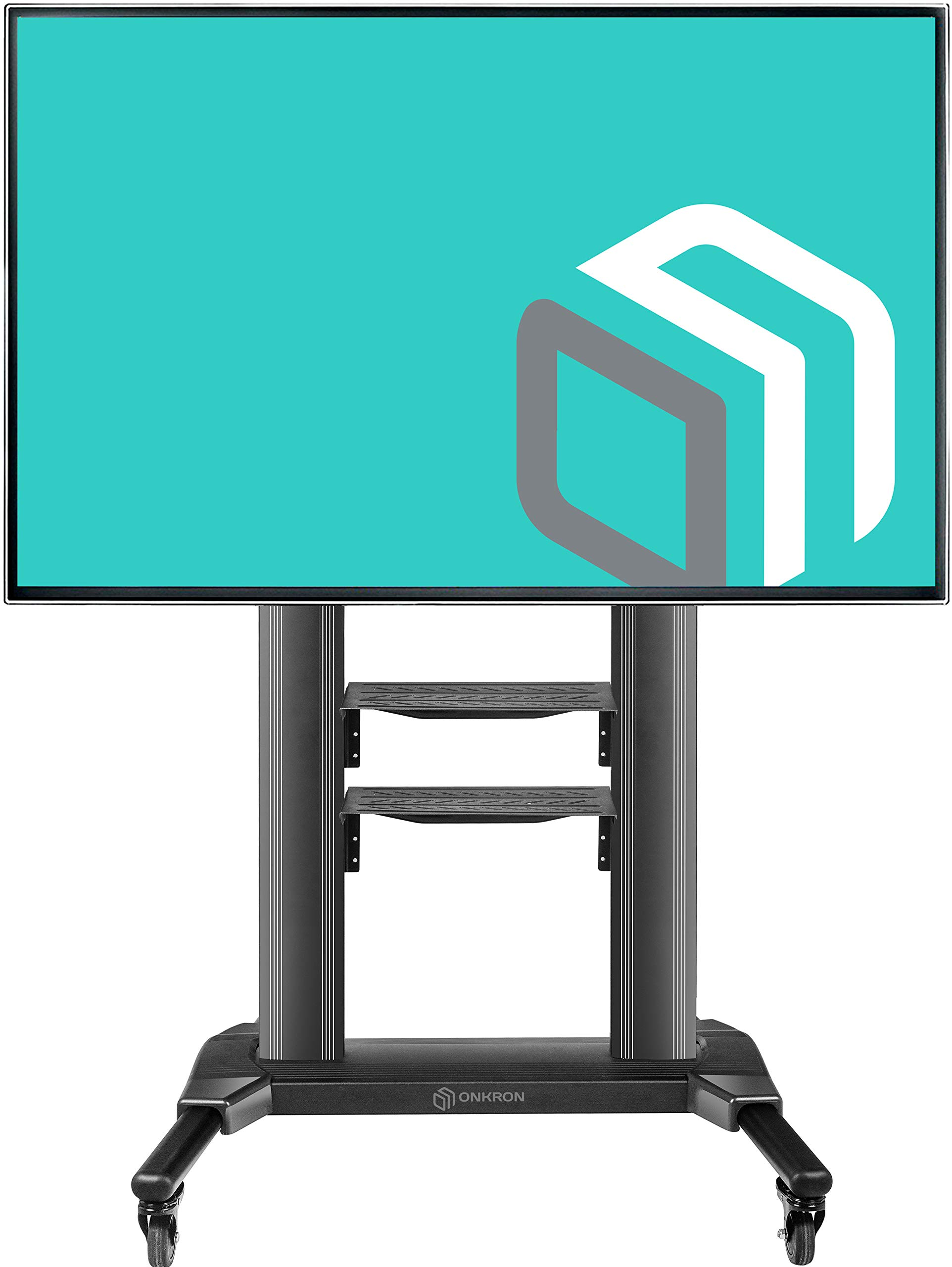 ONKRON Universal Mobile TV Stand with Shelves TV Cart on Wheels for 40'' - 75 Inch Flat Panel Curved LCD LED OLED Screens up to 100 lbs TS27-71 (Black) by ONKRON