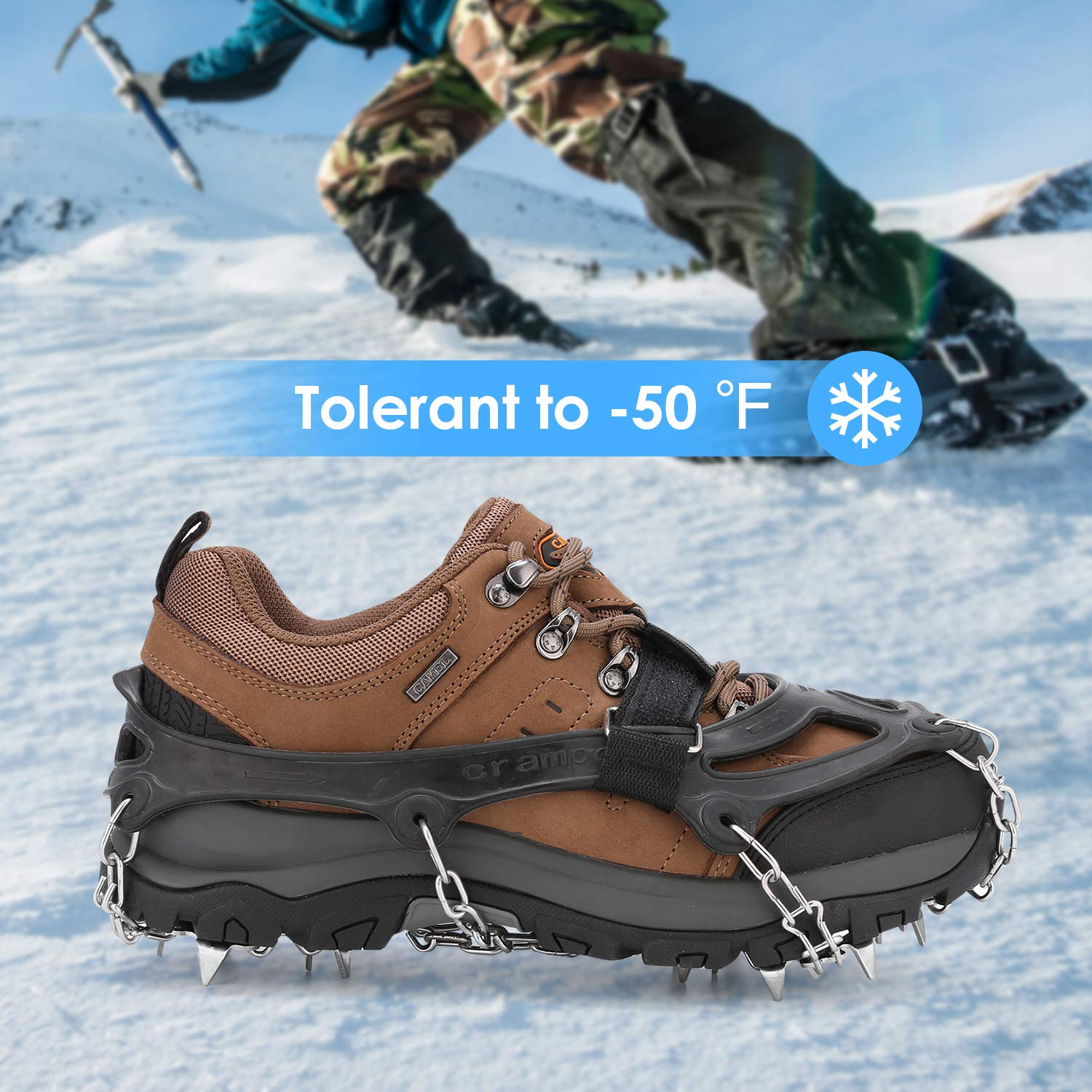 Vensoon Traction Ice Cleats Ice Grips for Shoes 19 Spikes Crampons for Boots Running Shoes Walking On Ice Snow Easy Slip On Stainless Steel Chain