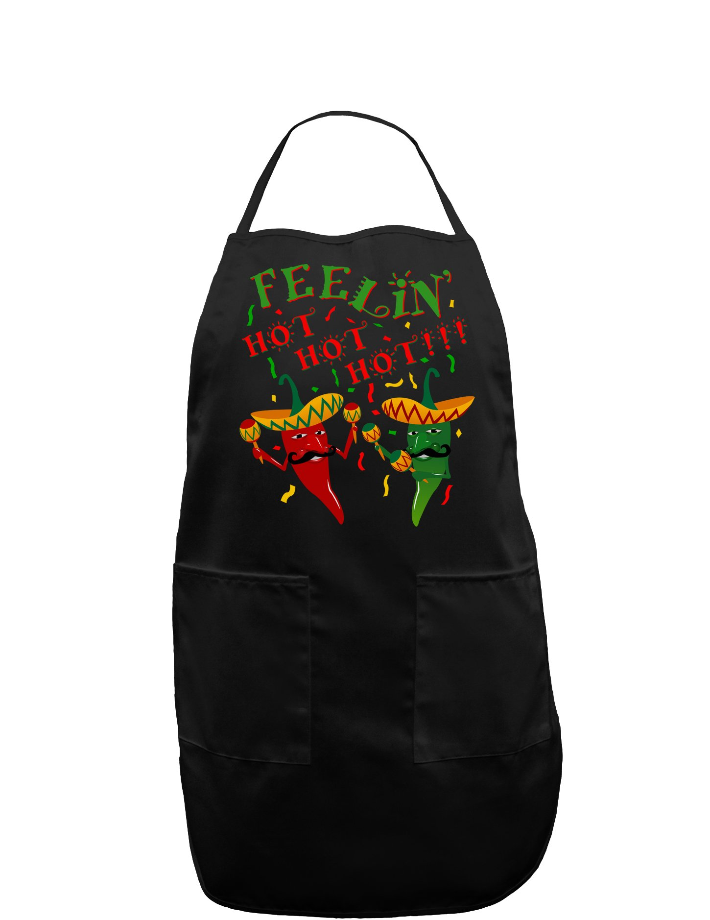 Feelin Hot Hot Hot Chili Peppers Dark Adult Apron - Black - One-Size