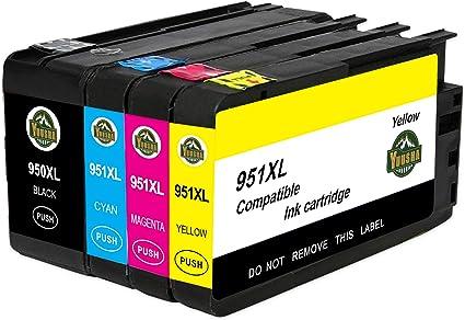 YUUSHA - Cartuchos de Tinta de Repuesto para HP 950XL 951XL 950 951, Color 1BK/1C/1M/1Y: Amazon.es: Oficina y papelería