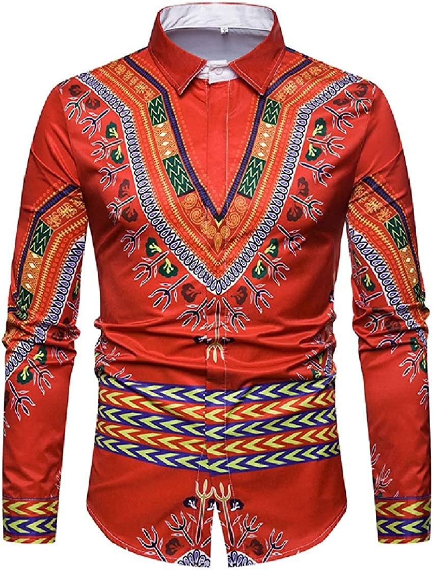 YUNY Mens 3D Printing Long Sleeve Fit Dashiki Ethnic Style Shirts Red 2XL