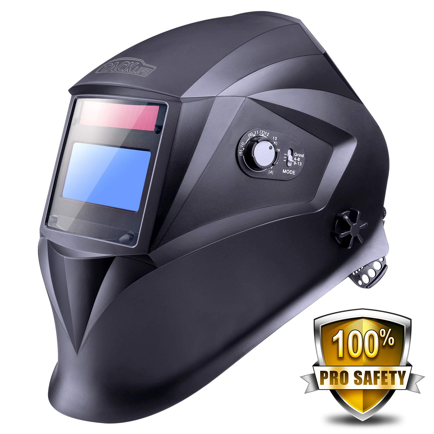 Welding Helmet with Top Optical Class 1/1/1/1, Full Shade Range 3/4-8/9-13, UV/IR Protection DIN 16, 6Pcs Replacement Lenses, Protecting Bag, Grinding Feature for TIG MIG MMA Plasma - PAH04D by TACKLIFE