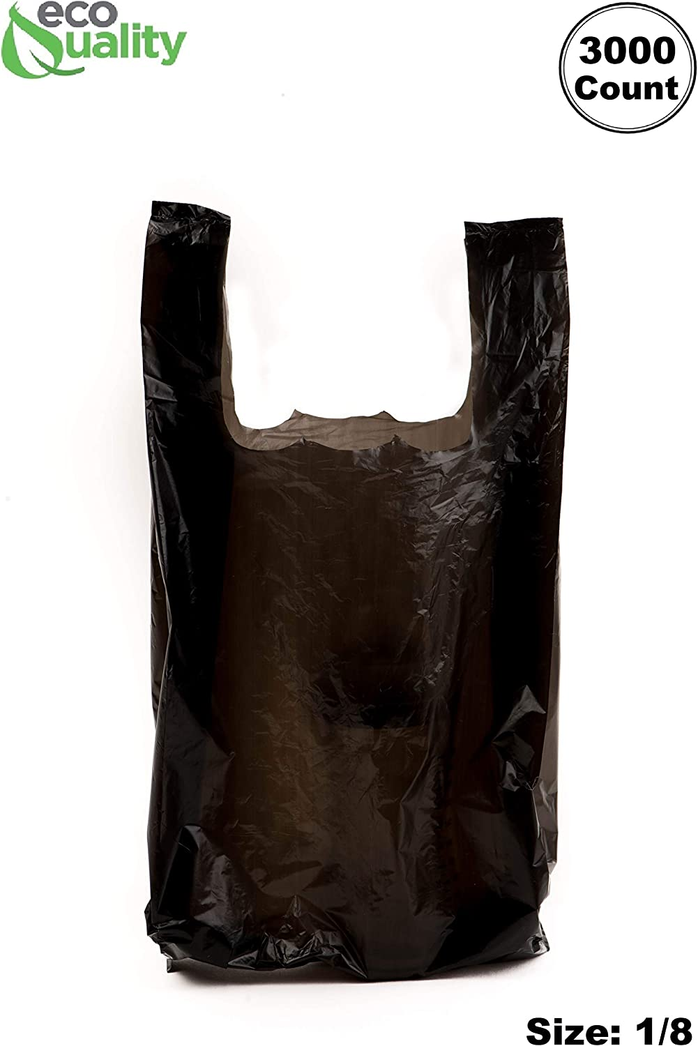 1500ct T-Shirt Black Plastic Bags Retail Grocery Store Shopping Carry Out Waste