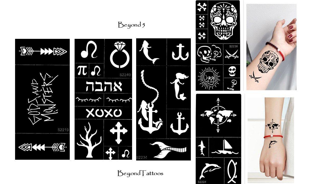 Tattoo Stencil Template 5Sheets ancoraggio Teschio Mappa del mondo per corpo e più Beyond 5