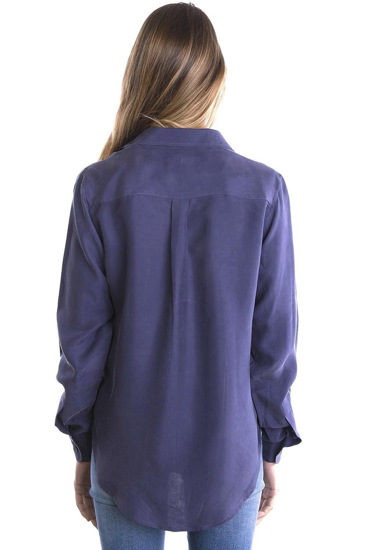 4659bd9c053 CAMIXA Womens 100% Silk Blouses Ladies Shirt Casual Pocket Button up  Elegant Top: Amazon.ca: Luggage & Bags