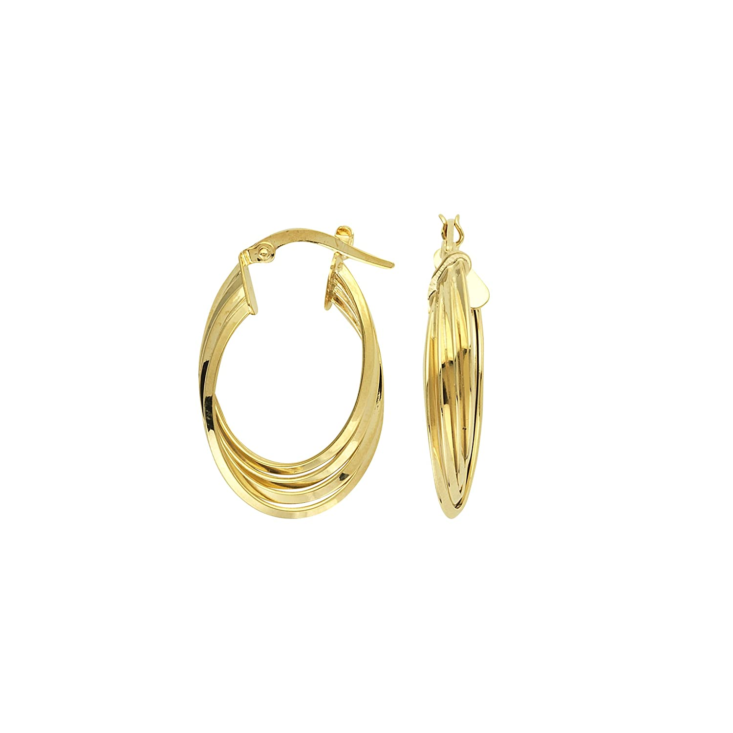 10KT GOLD TRIPPLE TWIST WAVE OVAL HOOP EARRINGS HOOP EARRINGS