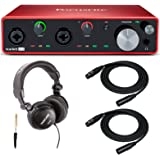 Focusrite Scarlett 4i4 3rd Gen 4x4 USB Audio Interface Bundle with Headphones and 2 XLR Cables (3 Items)