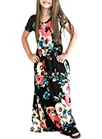 ZESICA Girl's Summer Short Sleeve Floral Printed Empire Waist Long Maxi Dress With Pockets