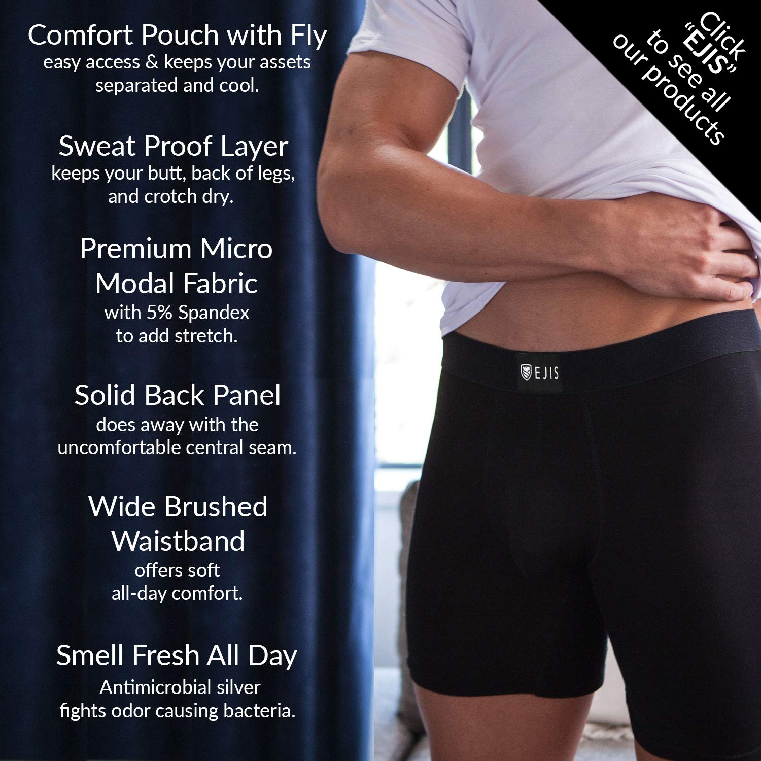 Ejis Regular Mens Undershirts Multi-Pack Crew Neck White Micro Modal Shirt Underwear with Antimicrobial Silver 3 Pack