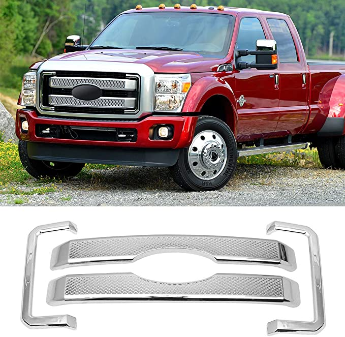 4pcs ABS Painted Black Front Bumper Hood Grill Cover NINTE Grille Covers for 2011-2016 Ford F-250 F-350 F-450 Super Duty