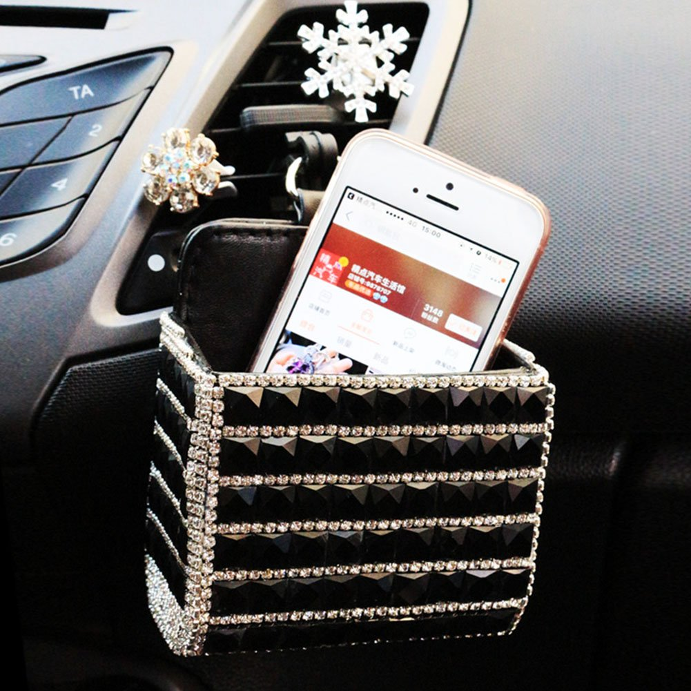 Black Lzttyee Bling Bling Design Car Air Vent Organizer Storage Pouch Pocket Cell Phone Hanging Holder for Cell Phone//Pen//Coin//Key//Glasses