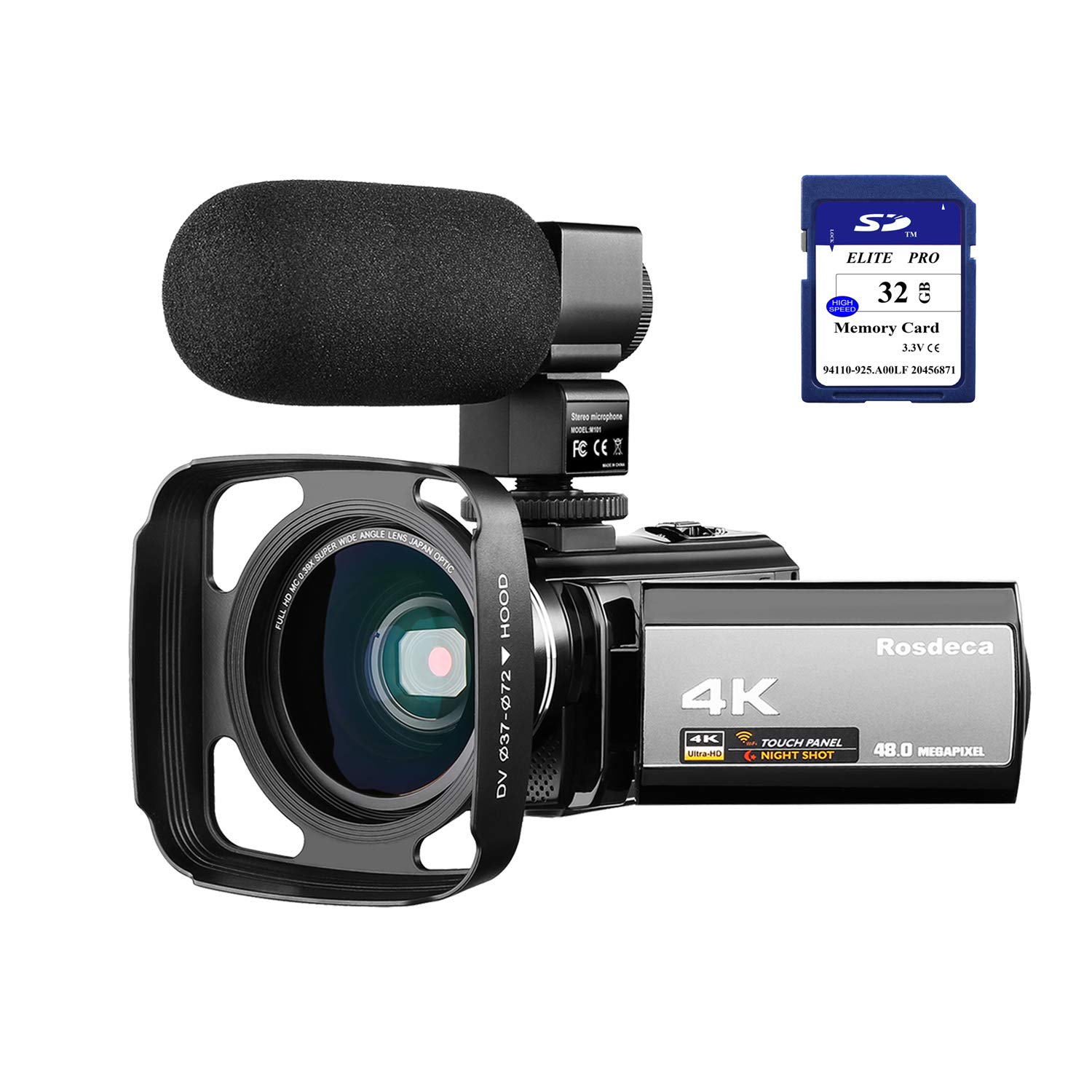 4K Camcorder Video Camera Rosdeca Ultra HD 48.0MP WiFi Digital Camera IR Night Vision 3.0'' IPS Touch Screen 16X Digital Zoom with External Microphone, Wide Angle Lens, Lens Hood and 2 Batteries by Rosdeca