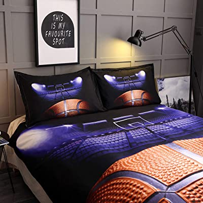 Decdeal 3D Sports Basketball Court Duvet Cover Set, King Size with 2 Pillowcases Supper Cool Bedding Set for Boys Men Teen-Boys Sports Fans: Home & Kitchen