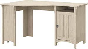 Bush Furniture Salinas 55W Corner Desk with Storage in Antique White