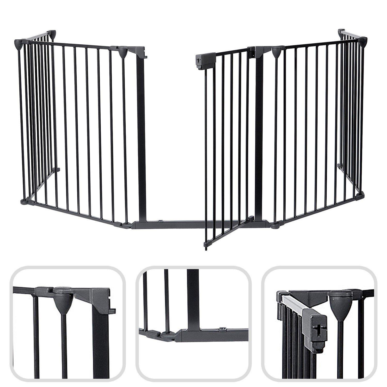 Todeco - Reja de Protección, Barrera de Seguridad para Chimenea - Tamaño plegado: 80 x 68 x 14 cm - Material: Plástico - 300 x 75 cm desplegado