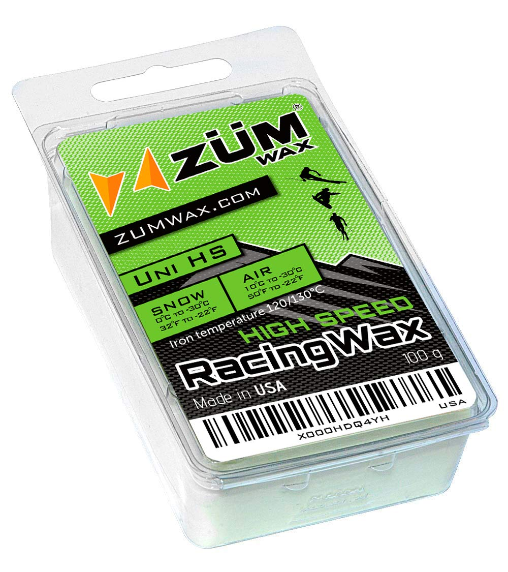 ZUMWax HIGH Speed Racing Glide Wax Ski/Snowboard/Nordic/Cross-Country - All Temperature Universal - 100 Gram. Super-Fast!!! Environmentally Friendly & Non-Toxic! Fully TSCA Compliant!!! by ZUMWax